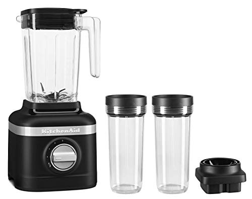 KitchenAid KSB1332BM 48oz, 3 Speed Ice Crushing Blender with 2 x 16oz Personal Jars to Blend and Go, Matte Black