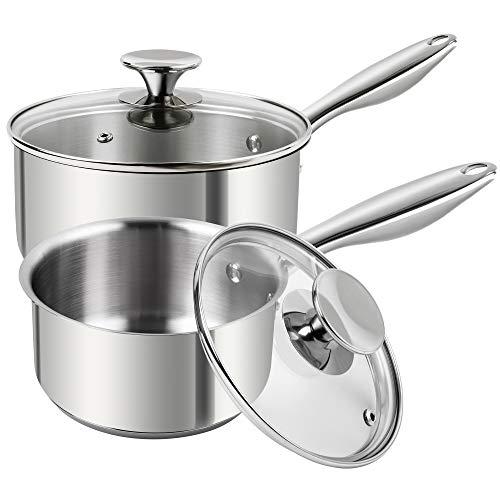 MICHELANGELO Stainless Steel Saucepan Set 1Qt & 2Qt, Premium 2 Piece Sauce Pan Set German Technology, Sacuepans Set Stainless Steel, 18/10 Stainless...
