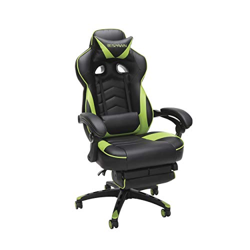 RESPAWN 110 Racing Style Gaming Chair, Reclining Ergonomic Leather Chair with Footrest, in Green...