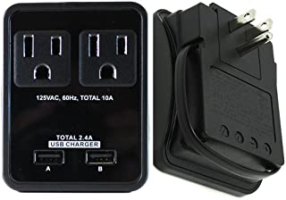 RND Compact Power Station 2.4 Amp Dual USB Ports, 2 AC Outlet Wall Charger (black)