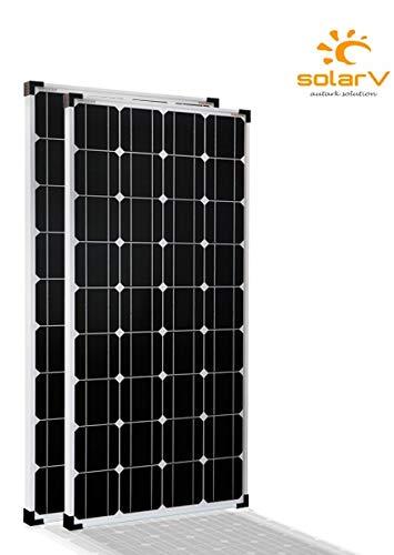 enjoysolar® Mono 100W Monokristallines Solar panel 100Watt ideal für Wohnmobil, Gartenhäuse, Boot (Doppelverpack)