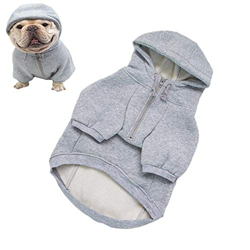 Meioro Dog Clothes Hoodie Dog Warm Hoodies Pet Hooded Clothing Fleece Sweatshirts for Dog Puppy French Bulldog, Solid Color Winter Costumes with Zipper (XS, Grey)