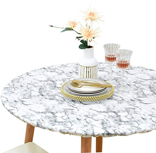 Rally Home Goods Indoor Outdoor Patio Round Fitted Vinyl Tablecloth, Flannel Backing, Elastic Edge, Waterproof Wipeable Plastic Cover, White Marble Pattern for 6-Seat Table of 43-56'' Diameter