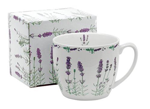 Jumbo-Tasse XXL Kaffee-Becher Kaffeetasse Porzellan Teetasse Geschenk-Tasse Trinkbecher Mug 750 ml von DUO in Geschenkbox (Lavendel)