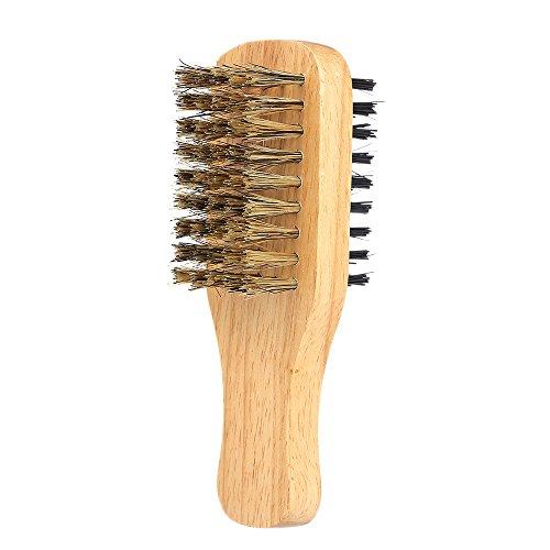 Anself Men's Beard Brush Double-sided Facial Hair Brush Shaving Comb Male Mustache Brush Solid Wood Handle (S)