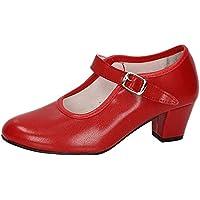 MADE IN SPAIN 15 SEVILLANAS FLAMENCOS NIÑA Zapatos TACÓN Rojo 33