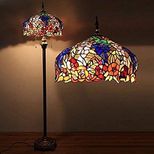 LKK-KK Lámparas de pie, Led Continental avanzada del vitral de Tiffany Lámparas Cafe Sala de estar Lámpara de piso, dormitorio de la lámpara retro creativo Eye-El cuidado de luz vertical