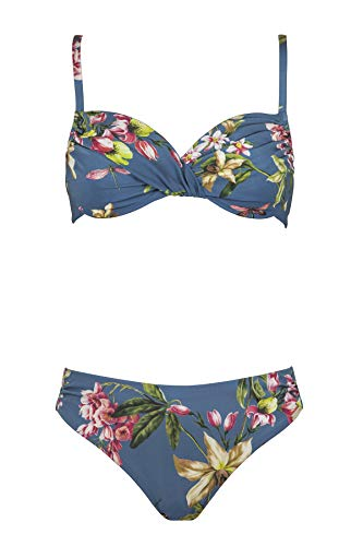 Maryan Mehlhorn, Bikini-Set, Oberteil ungefüttert mit Bügel, Bikini Slip, Fleuri 5520 des. 701 (36E, Smoke-Blue (997))