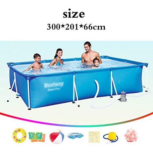 Piscinas Soporte niños caseros reproducción Adulto Entrenamiento (Color : Blue, Size : 300 * 201 * 66cm)
