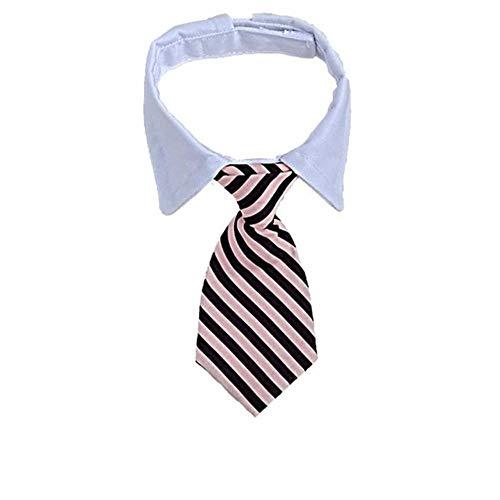 Markko Hunde-Krawatte, gestreift, mit Fliege, verstellbar, für Party, Hochzeit, 7 / 32 cm
