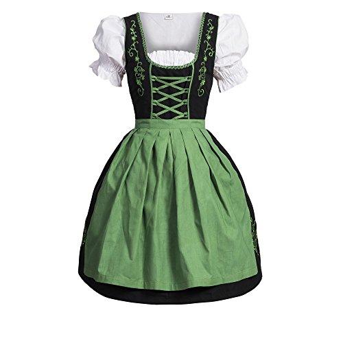 Bongossi-Trade Dirndl 3 TLG.Trachtenkleid Kleid, Bluse, Schürze, Gr. 38 schwarz grün