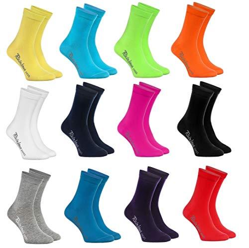 Rainbow Socks - Niños y Niñas - Calcetines de Algodón - 12 Pares - Multicolor - Talla 30-35