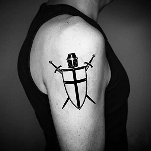 Crusader Cross Temporary Fake Tattoo Sticker (Set of 2) - www.ohmytat.com