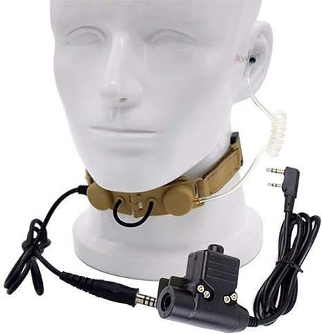 Auriculares de tubo de aire con U94 PTT para radio de dos v/ías BaoFeng UV-5R UV-5X UV-82 TYT TH-UV8000D Retevis H777 negro Z Tactical Throat Mic Z003
