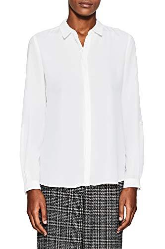 ESPRIT Collection Damen 998EO1F800 Bluse, Weiß (Off White 110), 38
