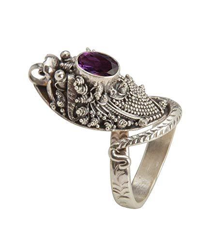Shadi - Anillo de plata de ley con una amatista facetada, 22 22 - joyería de plata artesanal