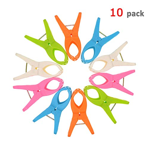 10 Pack Beach Towel Clips,Thick Towel Clips for Beach Chairs Pool Chairs Cruise Lounge Chairs, Keep Your Towel from Blowing Away, Jumbo Plastic...
