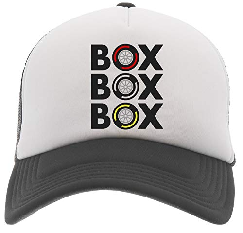 Box Box Box Tyre Compound Gorra De Béisbol Camionero Negro Baseball Trucker Cap Black