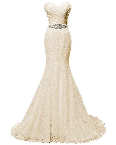 Solovedress Las Mujeres Atan el Vestido de Novia Vestido de Boda Vestido de Sirena con el Marco (Europa 42, champán)