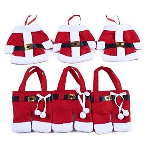3sets Navidad Cubierta Vajilla Tabla Creativa de Tela no Tejida Ropa y Pantalones Cubiertos Bolsas Suministros de Navidad para los Cuchillos y Tenedores