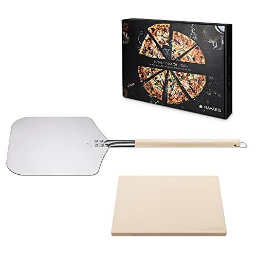 Navaris Pietra Refrattaria per Cottura Pizza - per Cuocere nel Forno di Casa Pane Pizze - Teglia Rettangolare 38x30cm Cordierite 800° Pala Alluminio