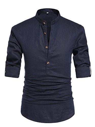 NITAGUT Men Henley Neck Long Sleeve Daily Look Linen Shirts Casual Beach T Shirts Navy Blue-US L