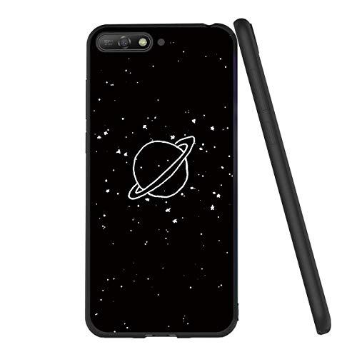 Yoedge Huawei Y6 2018 Hülle, Silikon TPU Schutzhülle [Slim Stoßfest] Ultra Dünn Schwarz mit Muster Motiv Handyhülle 360 Bumper Soft Hülle Cover für Huawei Y6 2018 / Honor 7A 5,7