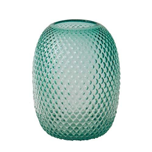 ZXL glazen vaas, 28 cm hoog, unieke fles in ananasvorm, voor gedroogde bloemen, hydrocultuur, ideaal voor thuis, bruiloft, kantoor en feest, groen
