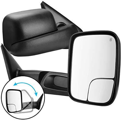 AUTOSAVER88 Tow Mirrors compatible with 2002-2008 Dodge RAM 1500 2003-2009 Dodge RAM 2500 3500 Power Heated Dual Lenses Flip-Up Side Mirror with Black Housing Manual Folding Driver Passenger Set