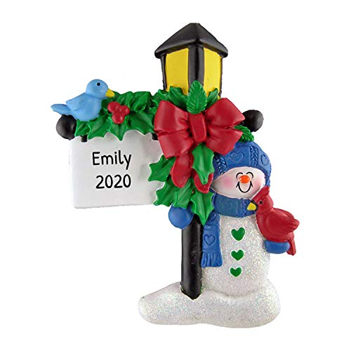 Personalized Lamp Post Christmas Tree Ornament 2020 - Festive Snowman Figure Original Winter Character Child Love Story Gift Holiday Light Tradition Grand-Kid Daughter Grandson - Free Customization
