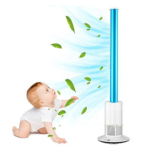 XIAOKUKU Ventilador sin aspas, Ventilador de Torre oscilante de 120 ° Sincronización silenciosa con Ajuste de Velocidad de Control Remoto Ventilador de Piso Enfriador doméstico Adecuado,A
