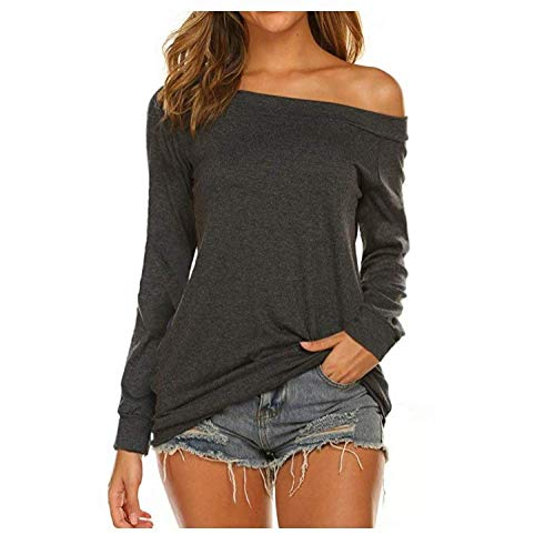 Einfarbiges Langarm-Oberteil Für Frauen Trägerloses T-Shirt mit Einem Ausschnitt