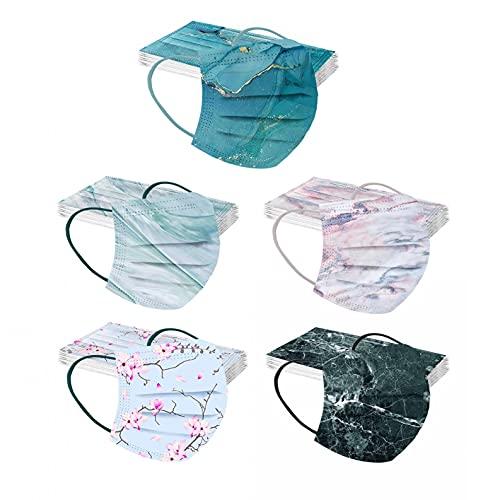DerberDis 50 unidades de protectores bucales para adultos, desechables, 3 capas, con diseño multicolor, para la boca y la nariz, transpirables, pañuelo para la boca, Multicolor#18, Talla única