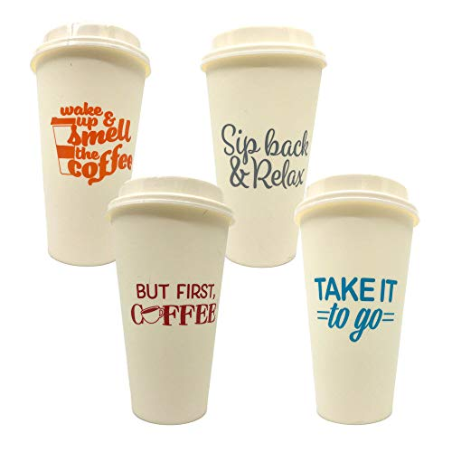 Take It To Go with Lids Reusable Plastic Travel Cups Mugs, Hot Cold Drinks, 8-ct Set (To Go 2)