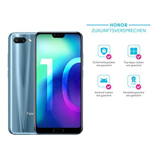 Honor 10 Smartphone (14,83 cm (5,84 Zoll), Full HD+ Touch-Bildschirm, 64GB interner Speicher, 4GB RAM, Silber – Deutsche Version
