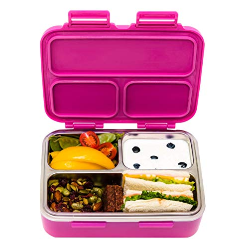 SkyeBox Stainless Steel Leakproof Bento Box – Kids Lunch Box – Bento Box Adult Lunch Box - Designed in Toronto Canada – BPA-Free and Food-Safe Materials – Fuchsia Pink
