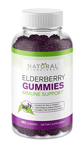 Sambucus Elderberry Gummies Family Size, 180 Elderberry Gummies with Zinc and Vitamin C & Black Elderberry Extract, for Kids & Adults, Natural Herbal Supplement, Immune Support, Gluten-Free, Vegan
