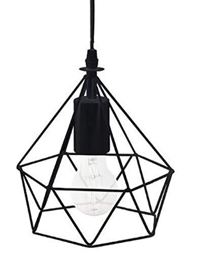 PEGANE Suspension Design en métal avec Fil Noir - Dim : D.19 x H.22 cm
