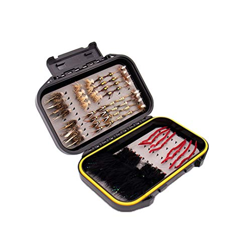 Fly Fishing Trout Flies | Essential Flies for Trout | Hand-Tied Dry Flies, Nymphs, Streamers (Essential Fly Assortment | Waterproof Fly Box | 64 Flies | Dry Flies, Nymphs, Streamers)