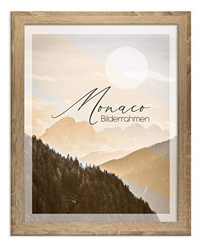 Bilderrahmen Monaco 30x45 cm in Sonoma Eiche mit entspiegelter Kunstglasscheibe - Farbe und Größe wählbar