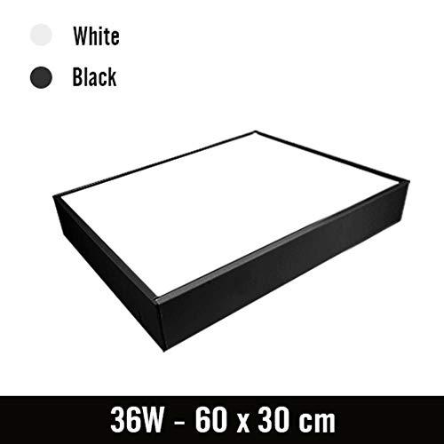 LED plafondlamp kantoor Moderne rechthoekige lamp afstandsbediening slaapkamer opbouw woonkamer hal 220V 230V 110V, wit lichaam, 60x30cm 36W