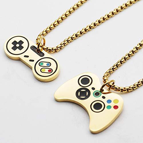 guodong 2 Stück Hip Hop 316L Game Controller Griff Joystick Edelstahl Anhänger Halskette Für Frauen Männer Steampunk Schmuck Kette Halsketten