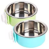 YEIRVE Crate Dog Water Bowl, Removable Stainless Steel Food Hanging Bowl, Pet Puppy Food Water Bowl for Cat, Dog,Puppy, Birds, Guinea Pigs,Rabbits and Other Small Pets.