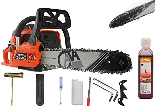 Petrol Chainsaw FUEL SAVE - 65cc and 4.9HP - German Quality - 18' + Stihl Oil