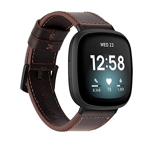 TurnTurn Armbänder Kompatibel mit Fitbit Versa 3/Fitbit Sense Lederarmband Uhrenarmband Sanft Ersatzband Lederband für Herren und Damen-Dunkler Kaffee