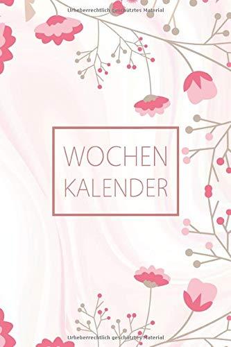 Wochenkalender: Zeitloser Taschenkalender ohne festes Datum A5 - Planer Agenda Organizer mit extra ToDo Liste + Notizseiten + Geburstage – ... für jede Woche Motiv: rosa zartrosa Blümchen
