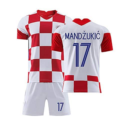 Herren Football Jersey, 2020 Kroatien Jersey Set Modric 10# Rakitic 7# Mandzukic 17# Home Court Summer Football Uniform NO.17-24