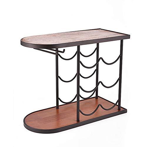 HOMERACK wijnrek tafelblad 6 flessen bewaarhouder vrijstaande wijnhouder werkblad wijn display frame met wijnglashanger bocht design voor hoofddecoratie decoratie