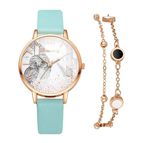 Powzz ornament 2020 - Reloj de pulsera para mujer, piel sintética, esfera de búho con reloj de cuarzo para mujer, color verde + pulsera