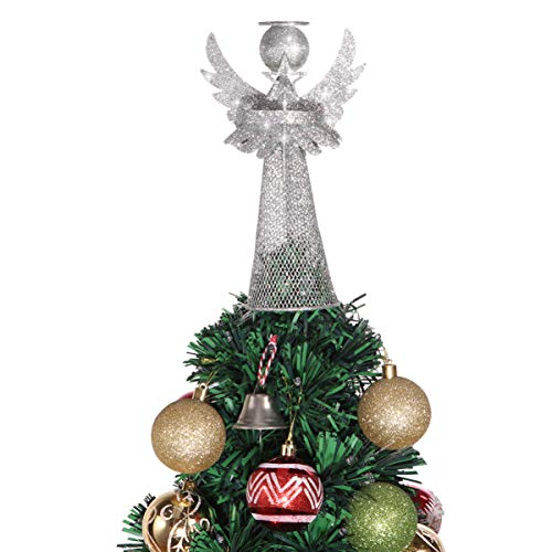 Amosfun Angel Christmas Tree Topper Silver Christmas Tree Top Decoration Coated Metal Angel Xmas Tree Topper Ornaments for Holiday Home Office Shopping Mall Decor